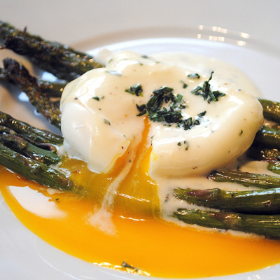 Roasted Asparagus with Poached Egg and Lemon-Mustard Sauce. Perfect for Easter brunch or dinner.