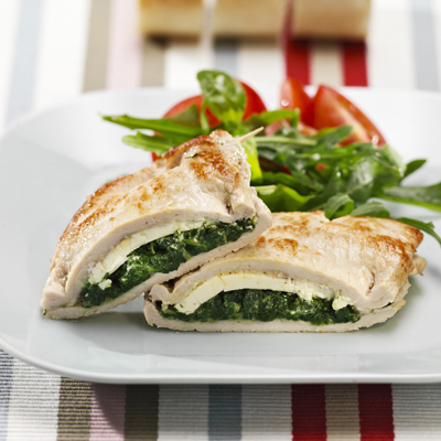 Easy to make recipe with stuffed pork and spinach, sheep's cheese and cooked in butter.