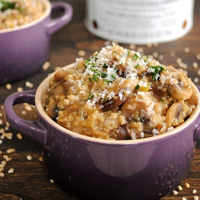 Savory Mushroom & Herb Steel Cut Oat Risotto - a savory dinner made from breakfast oats!
