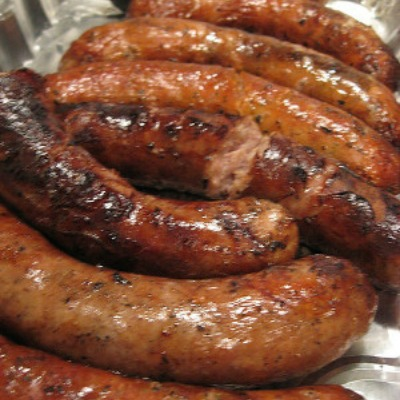 Slow cooker sausages in beer. Bratwurst sausages with beer and garlic cooked in slow cooker. Delicious!!!!